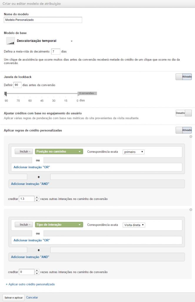 Configurações modelo de atribuição personalizado