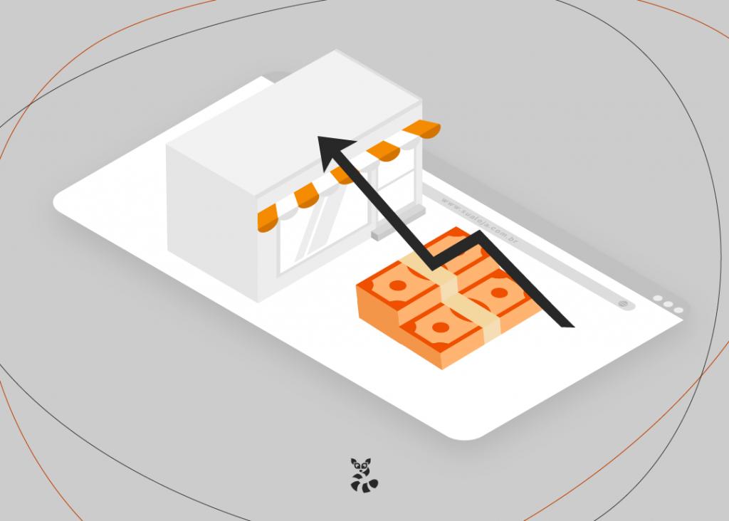 Há o desenho de um montante de dinheiro, com uma seta indo do montante até uma loja em desenhado, indicando como uma boa gestão de ecommerce pode melhorar os negócios de uma loja virtual