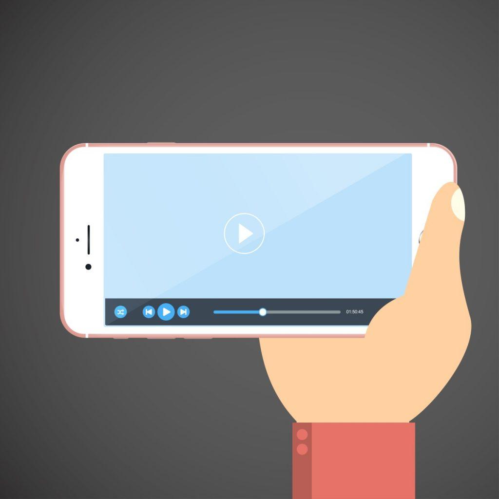 webinars -  desenho animado de uma mão segurando um celular que está com um vídeo rodando
