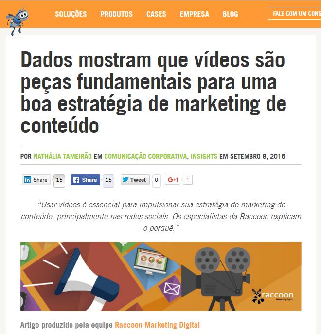 guest post: print de um guest post em que se mostra uma notícia sobre  como vídeos são peças fundamentais para uma boa estratégia de marketing de conteúdo