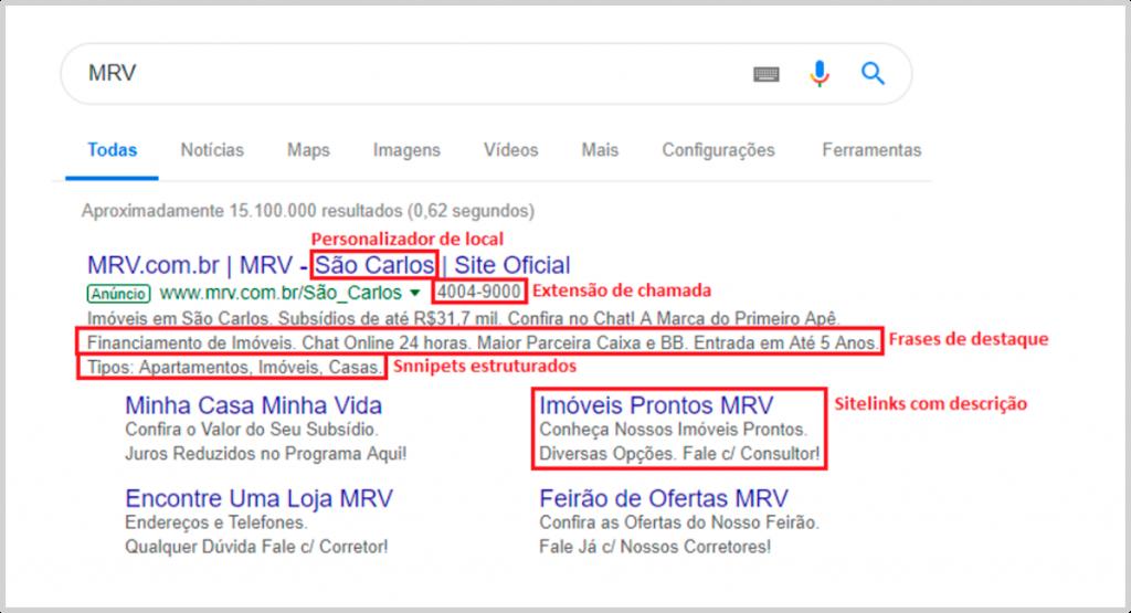 imagem mostrando extensões sendo exibidas no Google