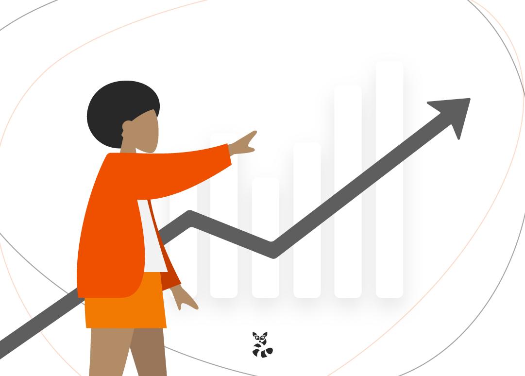mulher vendo gráfico sobre métricas