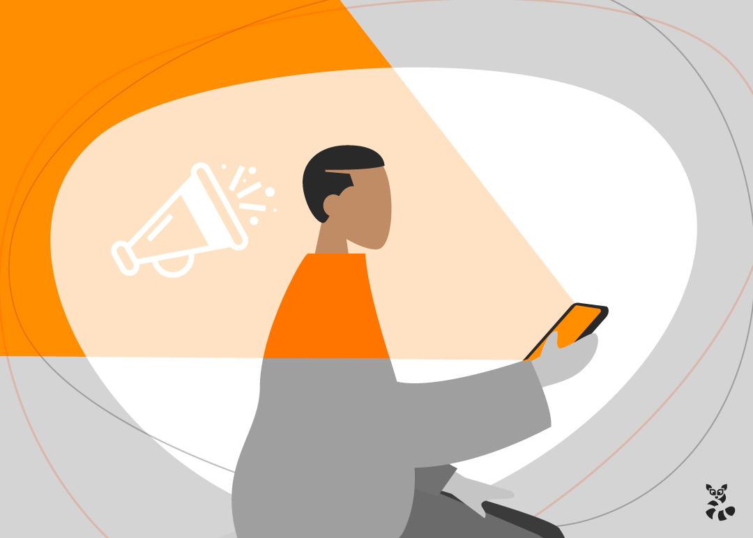 Imagem em vetor de um rapaz mexendo em seu celular, entendendo mais sobre o remarketing