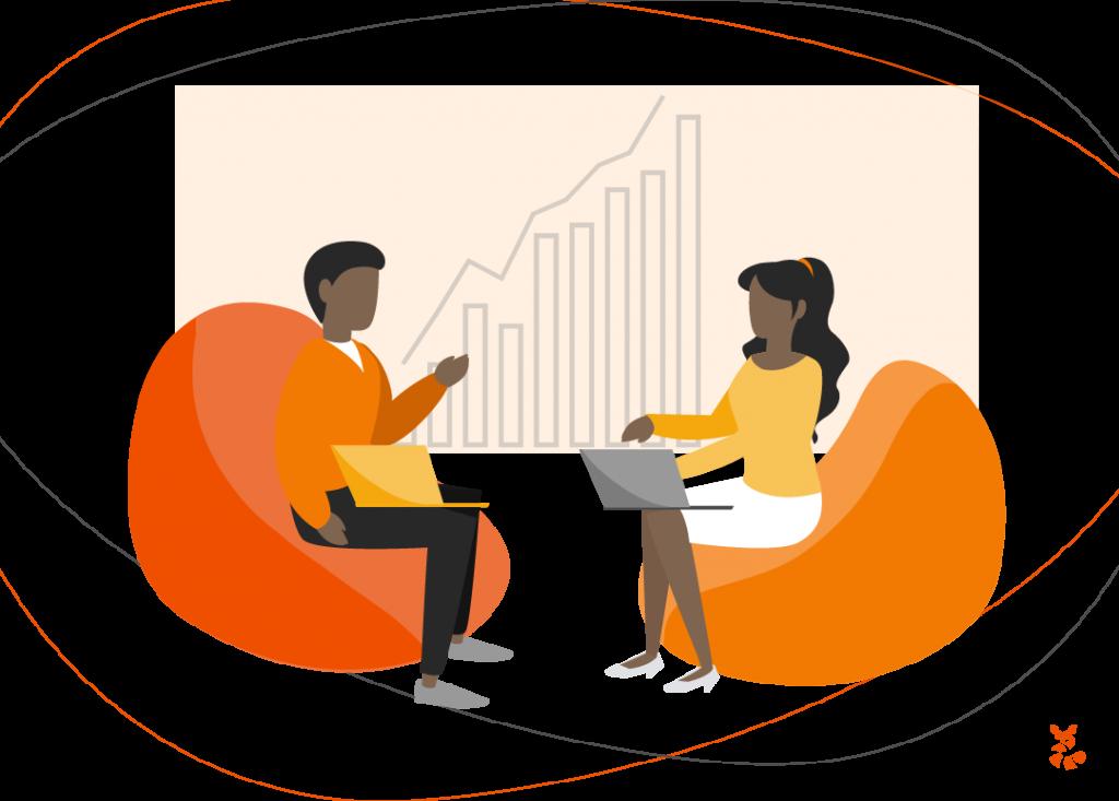 Ilustração de um homem e uma mulher conversando sobre a importância da união do time de vendas e do marketing, para uma boa inteligência de marketing
