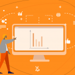 Ilustração de um homem analisando e apontando as estratégias de marketing digital em um monitor.