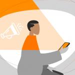 Ilustração de uma pessoa conferindo informações sobre o mercado de apps pelo celular. A imagem é cinza, mas há partes coloridas pela luz que sai do celular.
