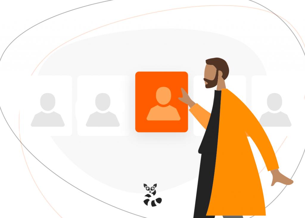 Imagem em vetor de um homem selecionando a persona ideal para seu negócio, mostrando a importância da estratégia de segmentação