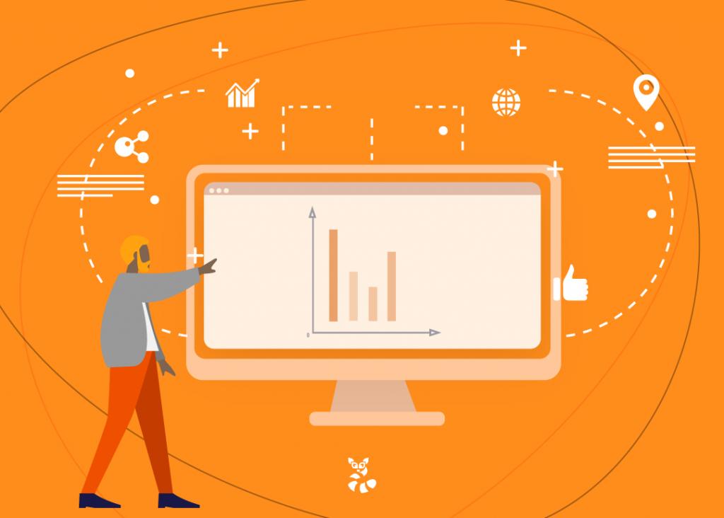 Imagem em vetor de um boneco apontando para um gráfico que indica uma mudança nos resultados do marketing de atração, devido às mudanças no algoritmo do Google