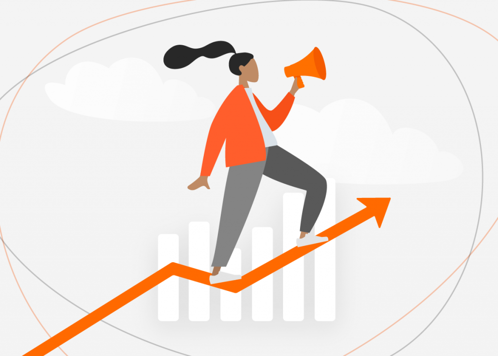 Imagem vetorizada que mostra gráfico crescente do aumento nas vendas com o marketing de varejo.