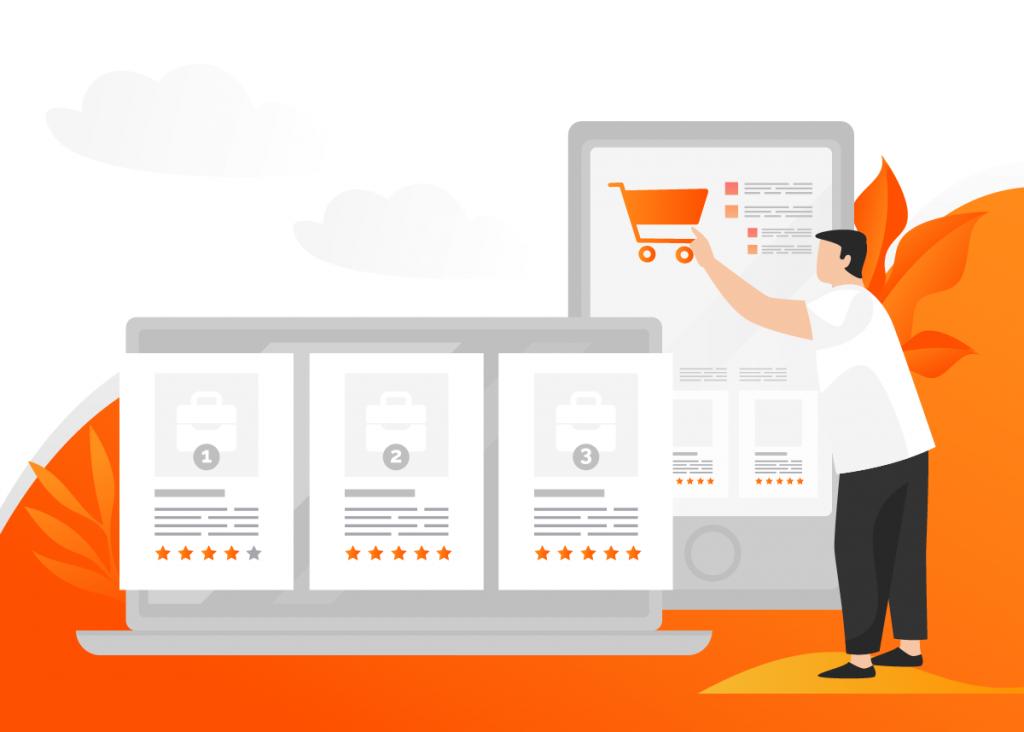 pessoa em pé mexendo com um carrinho de compras que foi construído graças a um plano de marketing digital pronto