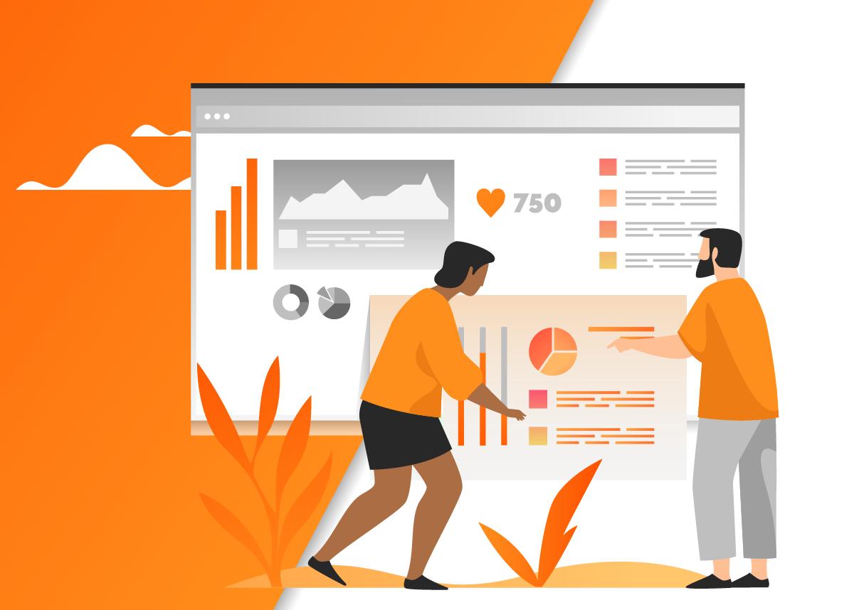Duas pessoas analisando telas com gráficos e amostragens de resultados de marketing digital voltado para a gestão de crise