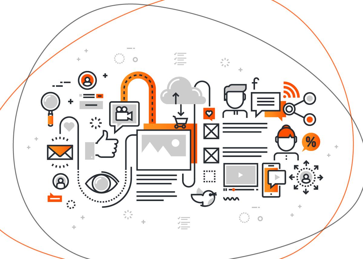 Ícones laranjas e cinzas interagindo entre si e ilustrando as vantagens do inbound marketing em cenário de crise
