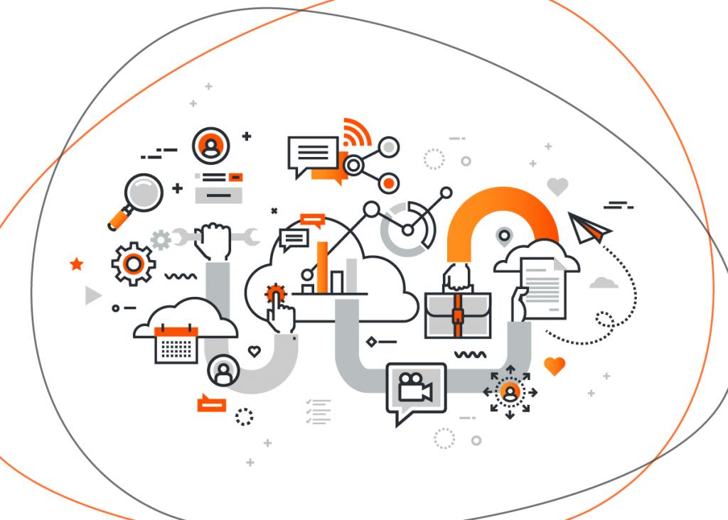 Ícones referentes a comunicação interagindo entre si e ilustrando as vantagens do inbound marketing em cenário estratégico