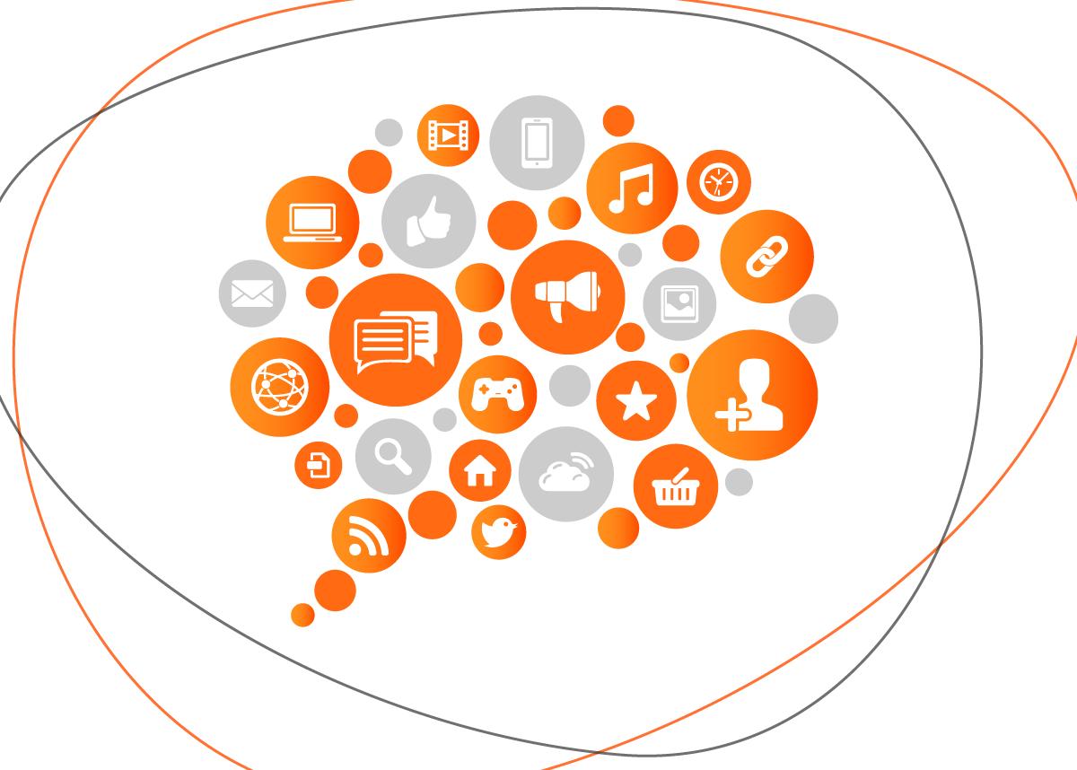 Ícones de diferentes redes sociais e ferramentas para o uso delas