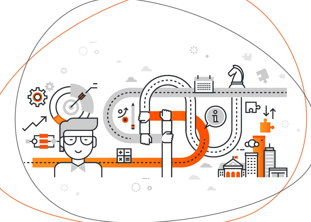 Ilustração sobre responsabilidade social das empresas com vários ícones remetendo a estratégias, como agendas, balões de fala, engrenagens e peças de quebra-cabeça