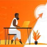 Ilustração de mulher pesquisando em seu computador sobre os termos benchmarketing, benchmark e benchmarking, com fundo e detalhes em laranja e branco.