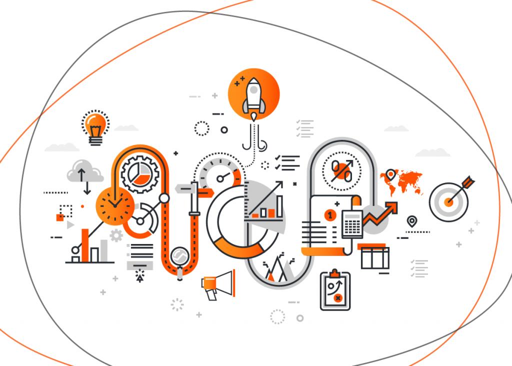 Vários ícones relacionados a estratégias de marketing como o benchmarking, que é muito procurado pelo termo benchmarketing