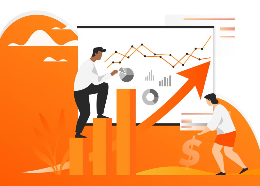 Ilustração de duas pessoas interagindo com elementos de análise de dados empresariais, depois de descobrirem que benchmarketing é um termo usado erroneamente para se referir a uma importante estratégia chamada benchmarking.