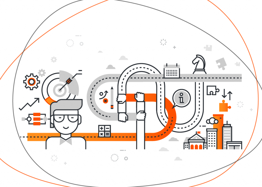 Vários ícones relacionados a questões importantes para uma empresa, como o benchmarking, uma estratégia também conhecida pelo termo benchmarketing