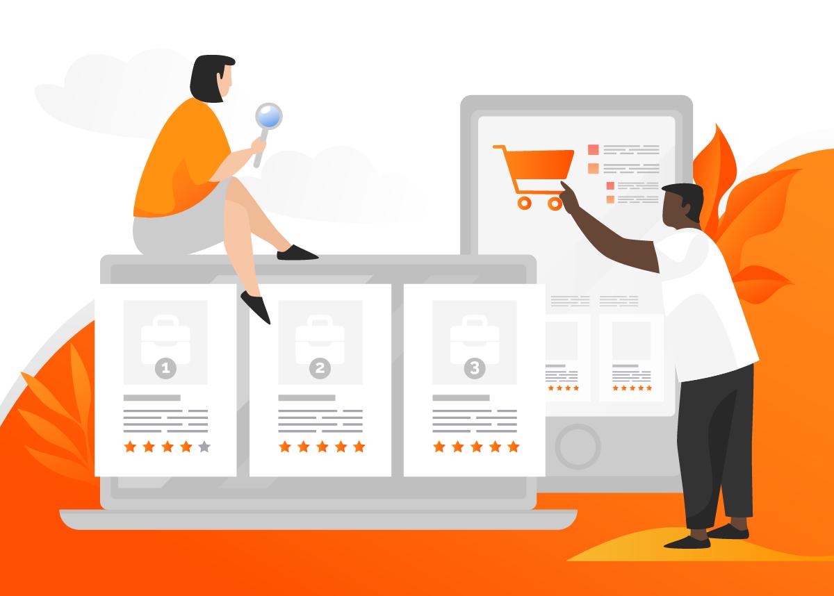 Ilustração com duas pessoas vendo dicas de vendas e procurando entender melhor o que vender para ganhar dinheiro online.