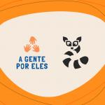 """Imagem com os logos da iniciativa """"A gente por eles"""" e da Raccoon"""