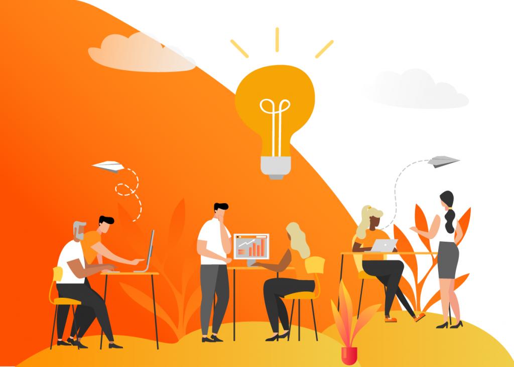 Imagem de vetores representando pessoas trabalhando em um escritório ajudando umas às outras.